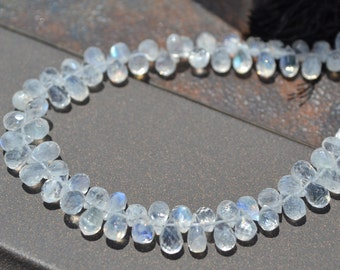 AA Rainbow Moonstone Tiny Faceted Briolette Beads   10