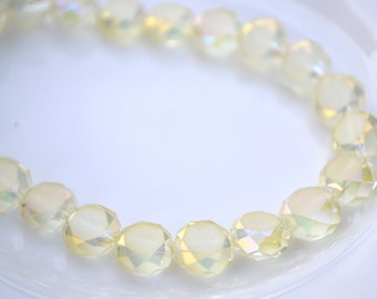 Pale Jonquil Matte Coin Faceted Beads   8