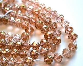Amber Rosaline 8mm Rosebud Beads   25