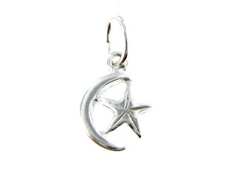 Add a Sterling Silver Crescent Moon and Star Charm (AO053)