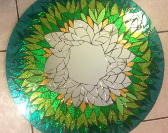 "REDUCED 24"" Glitter Glass Mosaic Mirror Large Floral"