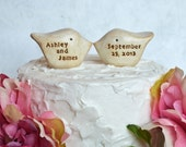 Wedding cake topper, personalized with your names and wedding date...Love birds... Custom names and wedding date ... Anniversary gift