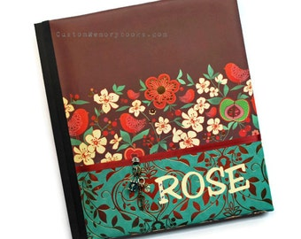 Bird Personalized Custom Baby Memory Book -Maroon Green Flowers Gold Foil