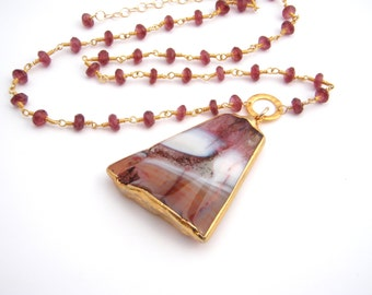 Geode Druzy Pendant And Garnet Necklace, Rosary Style, Oxblood Red, Gold, White, Brown, January Birthstone, Large Pendant