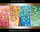 "Art painting Abstract Painting Impasto landscape Painting four seasons Canvas art ""365 Days of Happiness"" by qiqigallery"