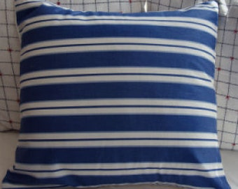 FrencH CoTTaGE PiLLoW/BLuE and WHiTE STRIPE/ShaBBy CHiC/Coastal/Urban/Bedroom/Nursery/Patio