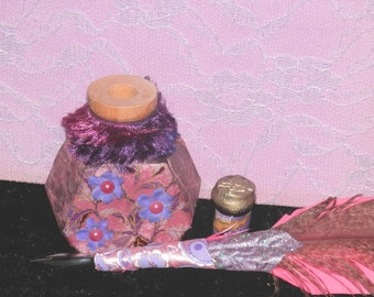 SAKURA Pink and Purple QUILL and Ink POT with Your Choice of Ink,  Handmade
