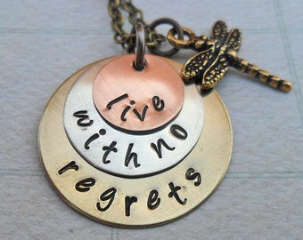 Live with no Regrets - Personalized Inspirational Necklace--Hand Stamped Mixed Metals - No Regrets Mantra Empowerment Necklace -S145