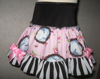 sequoia-NEW Black,Pink,White,Cameo Rose,stripes Frilly Mini Skirt,Punk,Lolita-All sizes
