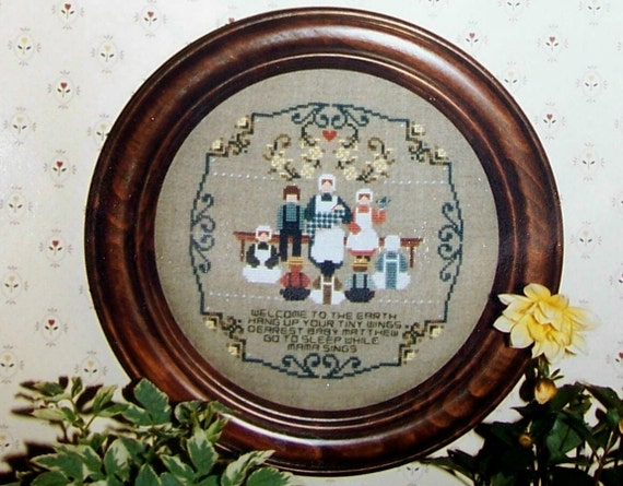 Cross stitch chart baby garden amish a told in a garden for Told in a garden designs