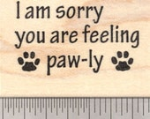 Get Well Soon Rubber Stamp, Paw prints, Cat, Dog   E23806 WM