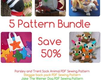5 Pattern Bundle - dog, back pack, sock animals, plush and Montessori Toy