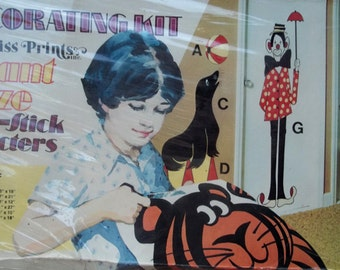 Vtg 60s Priss Prints No. 414 CLOWN TOWN Giant Size Circus Decorating Kit NIB in Shrinkwrap