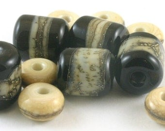 SRA Lampwork Glass Beads Black Silvered Ivory Spacer Beads Set