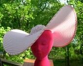 Vintage folding snap hat Miracle Sun-Brero Pink White