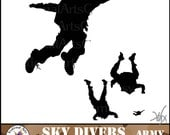INSTANT DOWNLOAD SKYDIVERs ARMY men silhouettes 5 png files digital clipart graphics