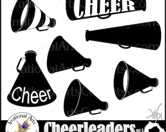 Megaphone Silhouettes set 5 - digital graphics 12 png - Cheer clipart graphics stunt spirit [INSTANT DOWNLOAD]