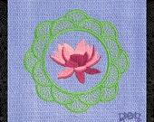 Blue Tea Towel Embroidered with Lotus Mandala