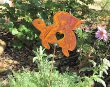 Rusty Finish Metal Turtle Tortoise Honu Angel Memorial Garden Art Yard Stake