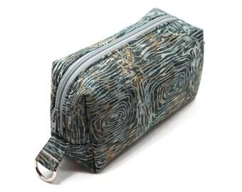 Small Zipper Box Pouch Project or Travel Case Gray Tree Circles Batik