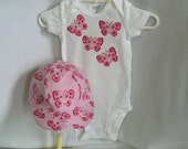 Baby Girl Pink Butterfly Applique Bodysuit with a matching Baseball Cap