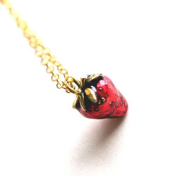 Red strawberry shortcake gold plated charm necklace clearance for Strawberry shortcake necklace jewelry