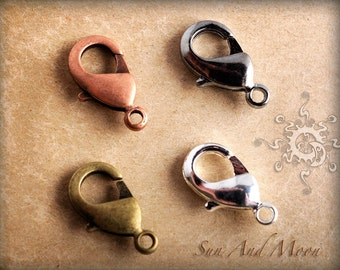 25 pcs - Lobster Clasps - 12x7mm Brass Wholesale Lobster Claw Clasp - Silver, Antique Bronze, Antiqued Copper, Gunmetal