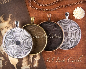 10 DIY (New) TEXTURED 38mm 1.5 inch Photo Pendant Trays Kit ~ Blank Bezels ~ Chains ~ FX Premium Glass ~