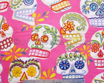 CALAVERAS SKULLS Pink Alexander Henry Big Sugar Skulls Cotton Quilt Fabric - by the Yard Day of the Dead