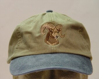BIGHORN SHEEP Wildlfie Hat  - One Embroidered Men Women Cap - Price Embroidery Apparel - 6 Two Tone Color Caps Available