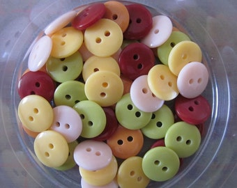 50 Mixed Small Autumn Yellow Orange Buttons