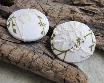 2 Large Embroidered White Fabric Buttons