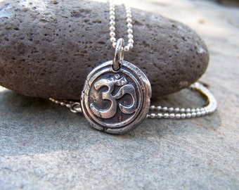Om Fine Silver Wax Seal Stamped Necklace