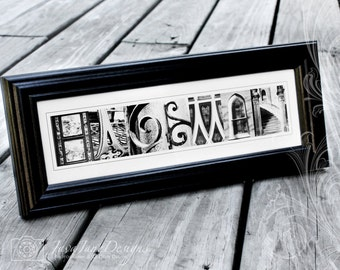 ANY NAME or WORD Framed in Black and White Alphabet Letter Photographs