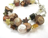 Bohemian Eco Friendly Bracelet - Eclectic Gemstone Stars, Natural Beach Shells, Carved Wooden Beads, Sterling Silver