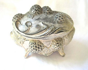 Vintage Victorian Jewelry Casket - White Shabby Metal Trinket Box