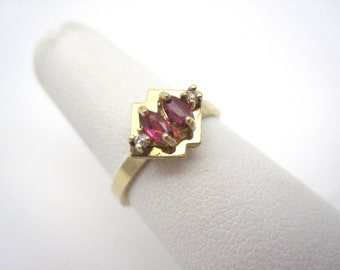 Ruby & Diamond Ring - 10k Gold