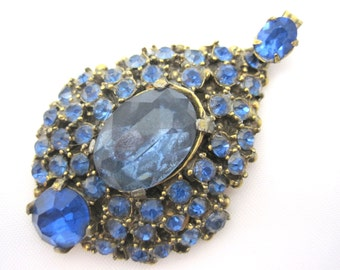 Blue Rhinestone Pendant - Azure Blue Costume Jewelry
