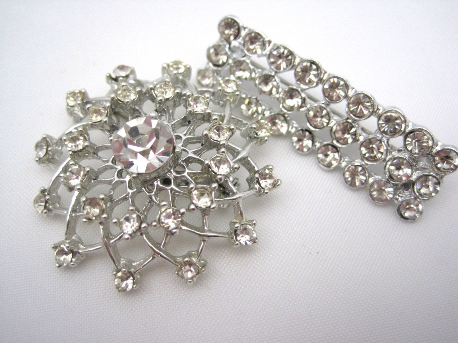 rhinestone brooches deco costume jewelry by vintageinbloom