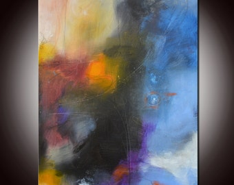 Blue Abstract Painting, Large Blue Gold Abstract,  Abstract Original Painting by Andrada 24x18 Blue painting,Mixed media art