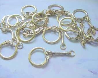 Key Chains Gold Brass Plated 2 Inches 15 Pieces CLEARANCE