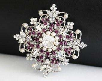Wedding Dress Brooch Amethyst Purple Crystal Rhinestone and Ivory Pearl  Bridal Brooch Wedding Jewelry ESTELLE