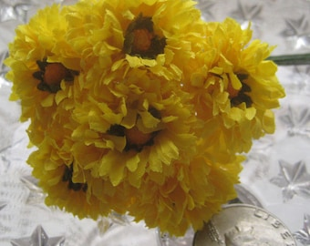 Fabric Millinery Flowers From Austria 6 Yellow Ruffled Flowers A-5