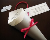 Wedding Toss / Favor Cone with Custom Tag, Ribbon, Colors, Fonts for Petal, Confetti, Candy, Chair, Ceremony, Send Off - Bistro Collection