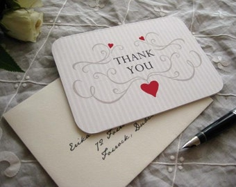 Wedding Thank You Card (Cardinal Red, Sepia with Ivory Envelope) Set of 10 - The Heath Collection