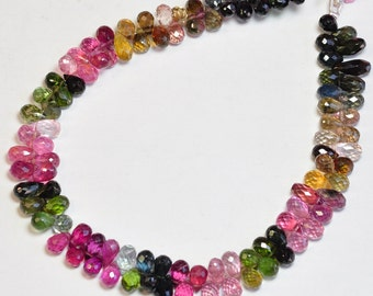 Old Mine Brazil Tourmaline Faceted Full Teardrop Beads 9 inch strand