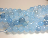 Jade Beads, Sky Blue, 14mm, Round, Faceted, Strand, Jewelry Beads, Jewelry Supplies, Jewellery Supplies