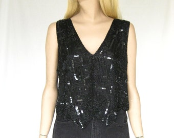 Vintage 80s Black Silk Beaded Sequin Blouse