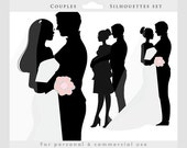 Bride and groom clipart - wedding couple, bride, groom, wedding clip art, dress, pregnant, mom, silhouettes for personal and commercial use