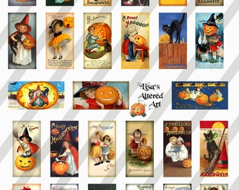 Digital Collage Sheet Domino Halloween Postcard  Images 1X2 (Sheet no. O134) Instant Download